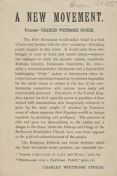Advert For A New Religious Movement Started By Charles Whitmore Stokes